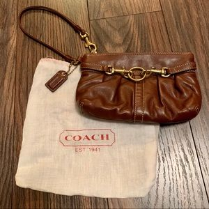 Coach Brown Leather Wristlet with Gold Detail